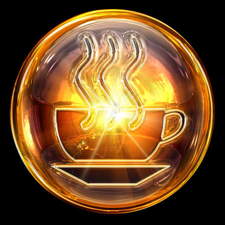 Coffee cup icon fire, isolated on black background photo