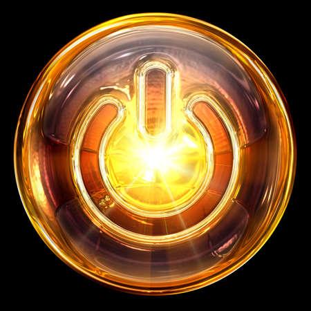 Power-Symbol Feuer, isoliert auf schwarzem Hintergrund Standard-Bild