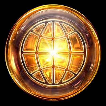 Welt-Symbol Feuer, isoliert auf schwarzem Hintergrund Standard-Bild