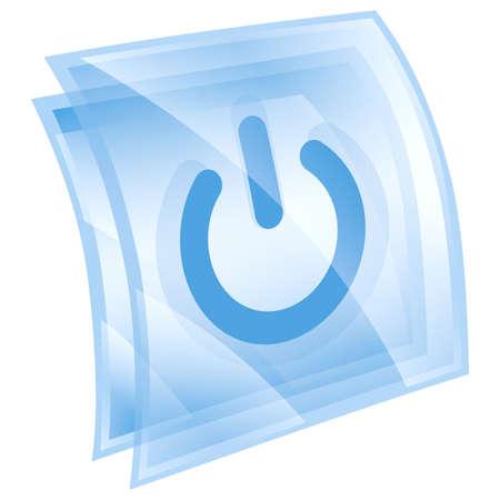 Power-Taste, blau, isoliert auf weißem Hintergrund.