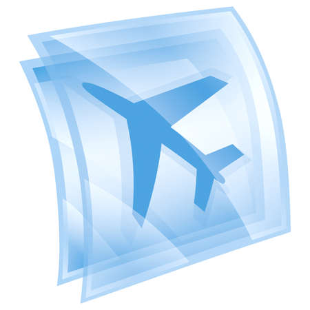 airplane icon blue, isolated on white background. photo