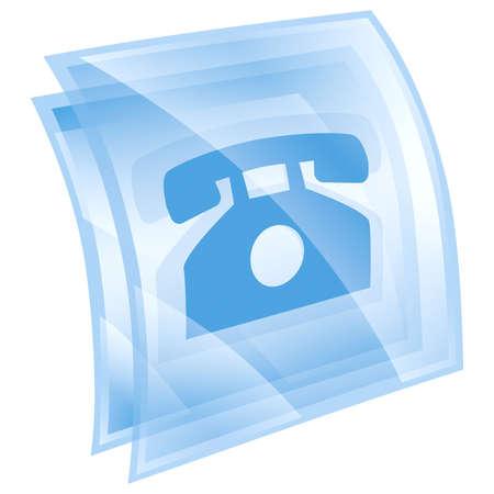 cabina telefono: el icono del tel�fono azul, aisladas sobre fondo blanco. Foto de archivo