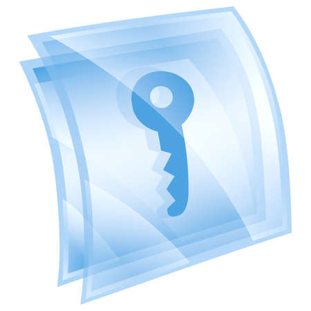 Key icon blue, isolated on white background Stock Photo - 9772770