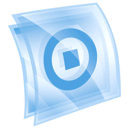 Stop icon blue, isolated on white background. photo