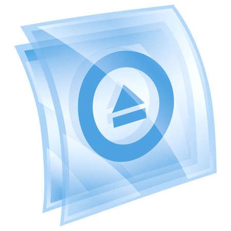 eject: Eject icon blue, isolated on white background.