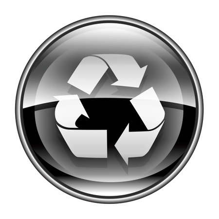 Recycling symbol icon black, isolated on white background. photo