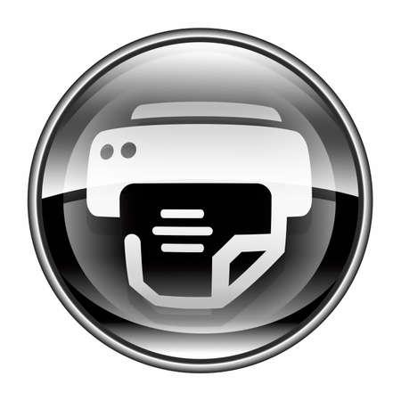 laser printer: printer icon black, isolated on white background.