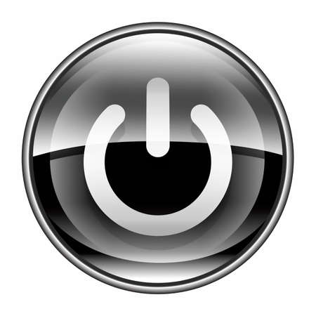 close button: power button black, isolated on white background. Stock Photo