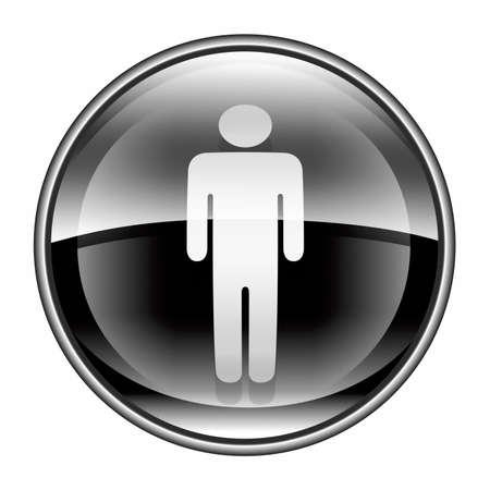 watercloset: men icon black, isolated on white background. Stock Photo