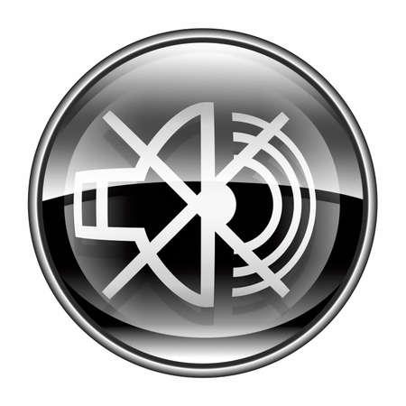 speaker off icon black, isolated on white background. photo