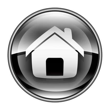 Home-Symbol schwarz, isoliert auf weißem Hintergrund Standard-Bild
