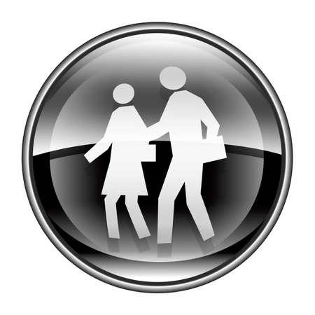 watercloset: people icon black, isolated on white background Stock Photo