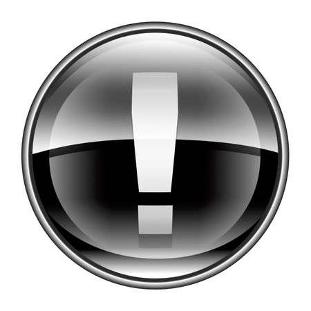 error message: Exclamation symbol icon black, isolated on white background Stock Photo