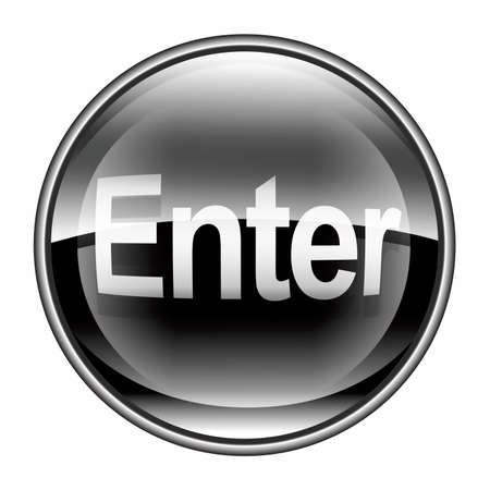 tecla enter: Entrar en el icono negro, sobre fondo blanco Foto de archivo