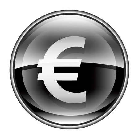Euro icon black, isolated on white background photo