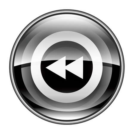 rewind: Rewind Back icon black, isolated on white background.