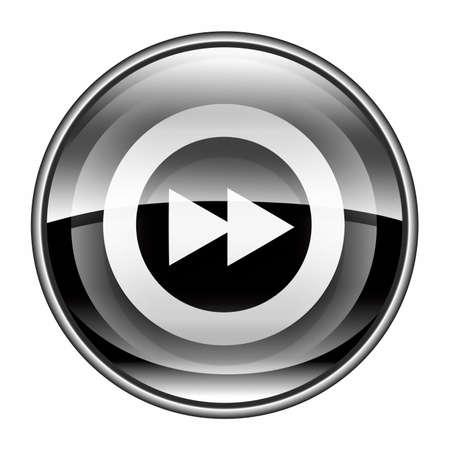 rewind icon: Rewind Forward icon black, isolated on white background. Stock Photo