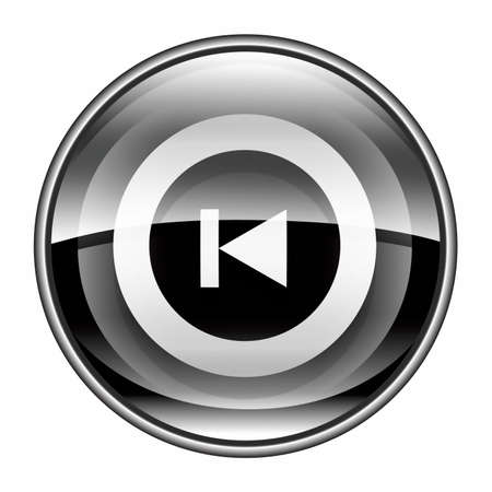 Rewind Back icon black, isolated on white background.