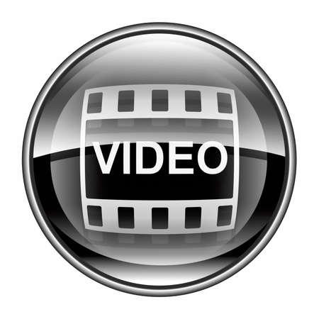 Film icon black, isolated on white background. Stock Photo