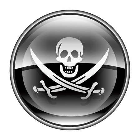 warez: Pirate icon black, isolated on white background.