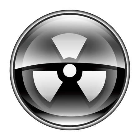 radiacion solar: Negro icono radiactivos, aisladas sobre fondo blanco. Foto de archivo