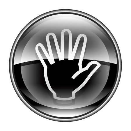 hand icon black, isolated on white background.  photo