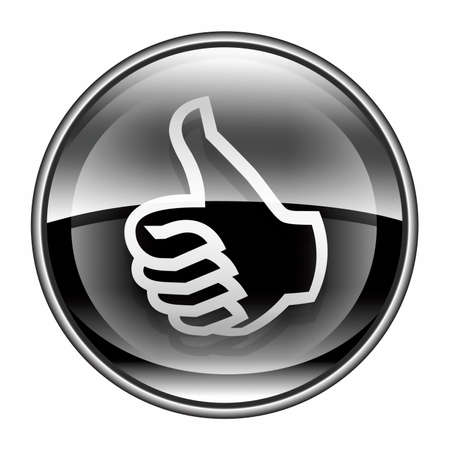 excellent: thumb up icon black, approval Hand Gesture, isolated on white background.