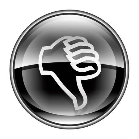 ineffective: thumb down icon black, isolated on white background.