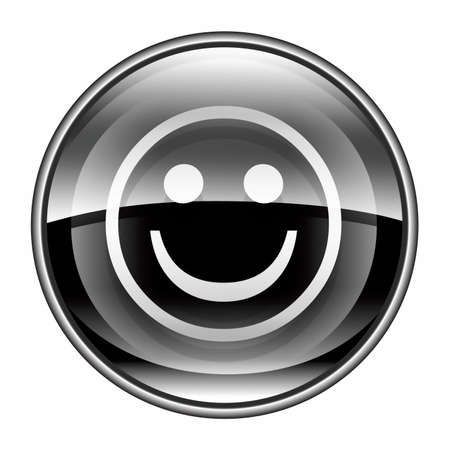 friendliness: Smiley Face black, isolated on white background.  Stock Photo