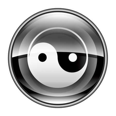 zen aum: yin yang symbol icon black, isolated on white background.