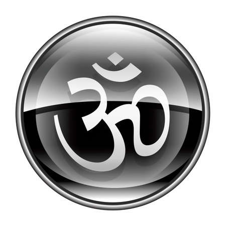 aum: Om Symbol icon black, isolated on white background.