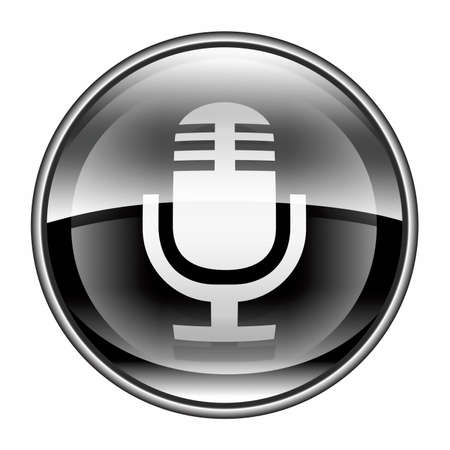 Microphone icon black, isolated on white background photo
