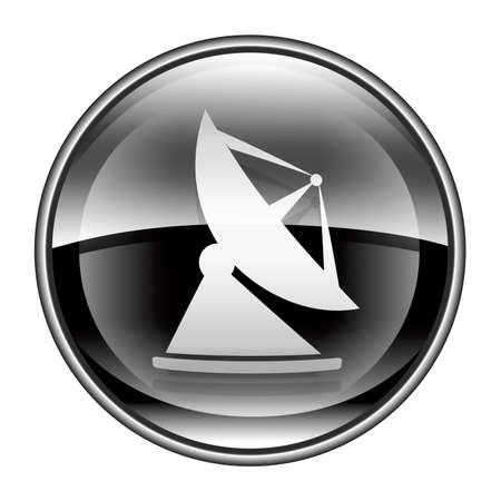antena parabolica: Negro de icono de la antena, aisladas sobre fondo blanco