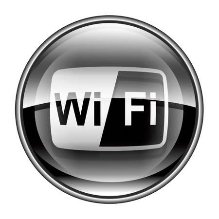 WI-FI tower icon black, isolated on white background photo