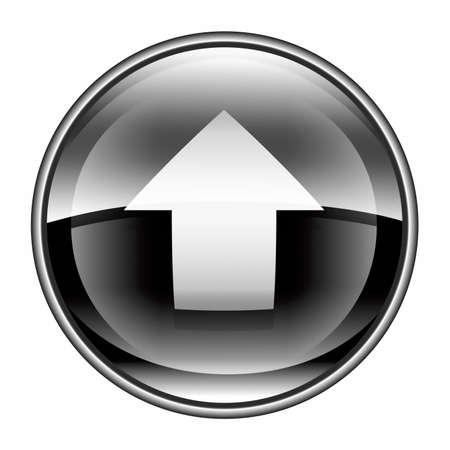 input output: Upload icon black, isolated on white background.
