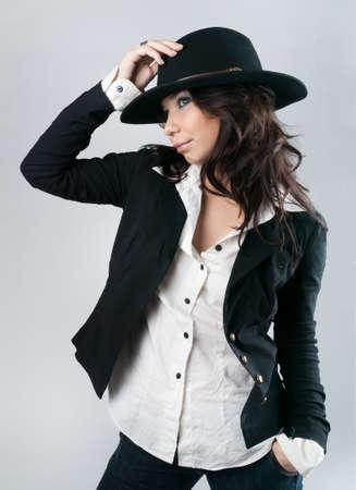 Beautiful woman in cowboy hat. photo