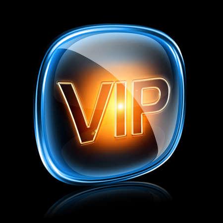 aqua icon: Vip icon neon, isolated on black background