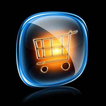 shopping cart icon neon, isolated on black background Stock Photo - 11504133