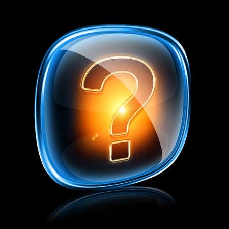 Help icon neon, isolated on black background photo