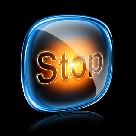 Stop icon neon, isolated on black background photo