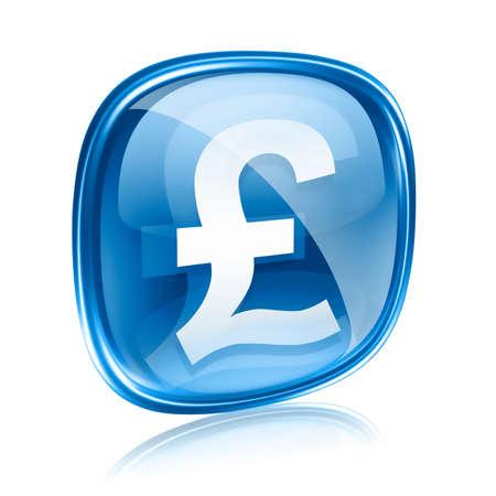 pounds money: Libra icono azul de cristal, aislados en fondo blanco