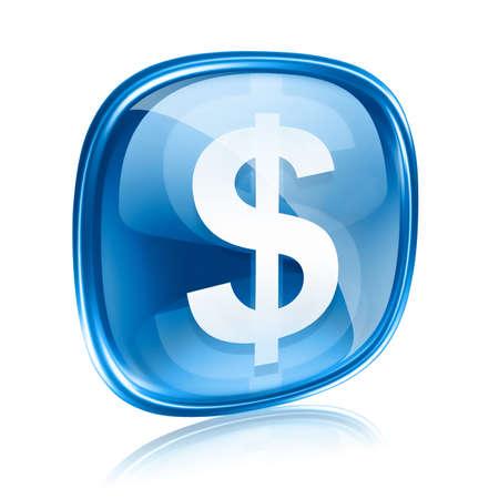signos de pesos: dólar icono azul de cristal, aislados en fondo blanco Foto de archivo
