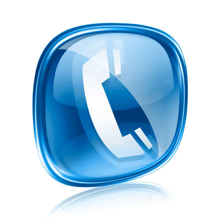 telephone cable: phone icon blue glass, isolated on white background. Stock Photo