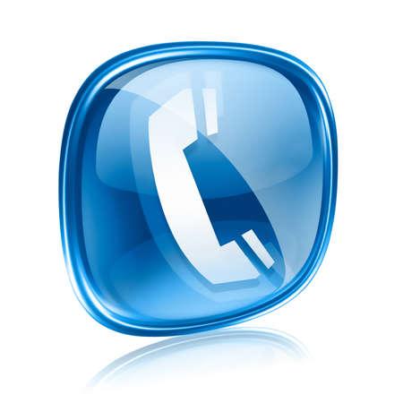 cabina telefonica: tel�fono icono azul de cristal, aislados en fondo blanco. Foto de archivo