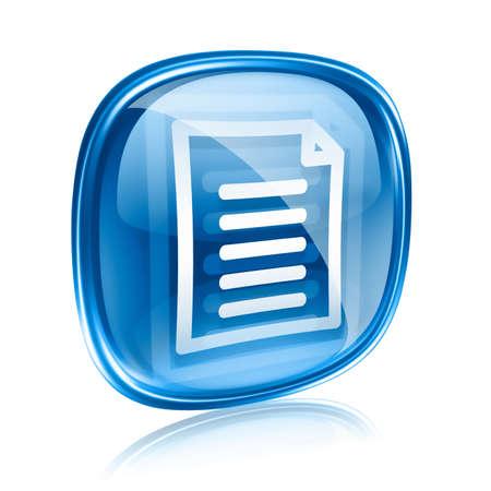 Document icon blue glass, isolated on white background photo