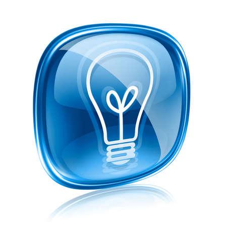 Glühbirnen-Symbol blaues Glas, isoliert auf weißem Hintergrund Standard-Bild