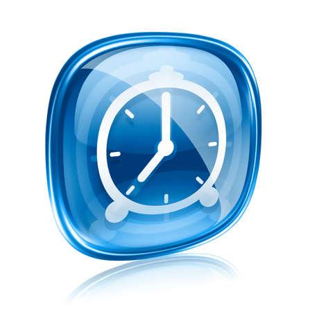 Clock icon blue glass, isolated on white background photo