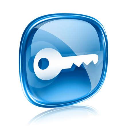 Schlüssel-Symbol, blaues Glas, isoliert auf weißem Hintergrund