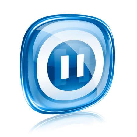 pausa: Icono de pausa azul de cristal, aislados en fondo blanco.