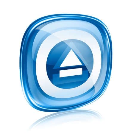 eject: Eject icon blue glass, isolated on white background. Stock Photo